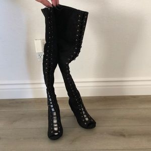 Thigh high lace up, suede heel boots. Women 6